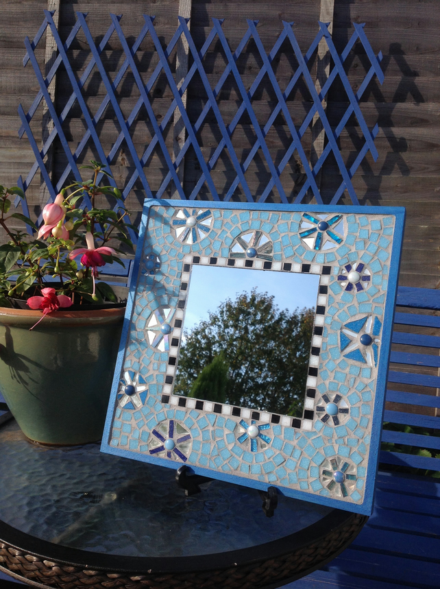 Medium Square Turquoise Blue Mosaic Mirror