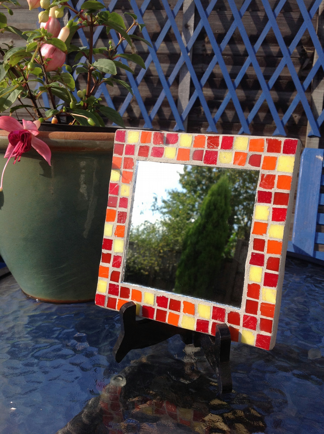 Small Square Mosaic Mirror -Red 2