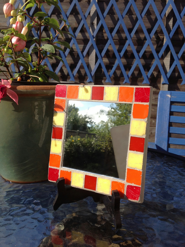 Small Square Mosaic Mirror -Red 1