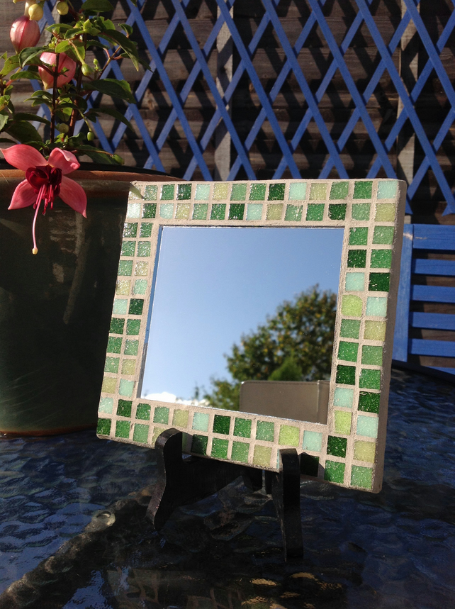 Small Square Mosaic Mirror - Green 2