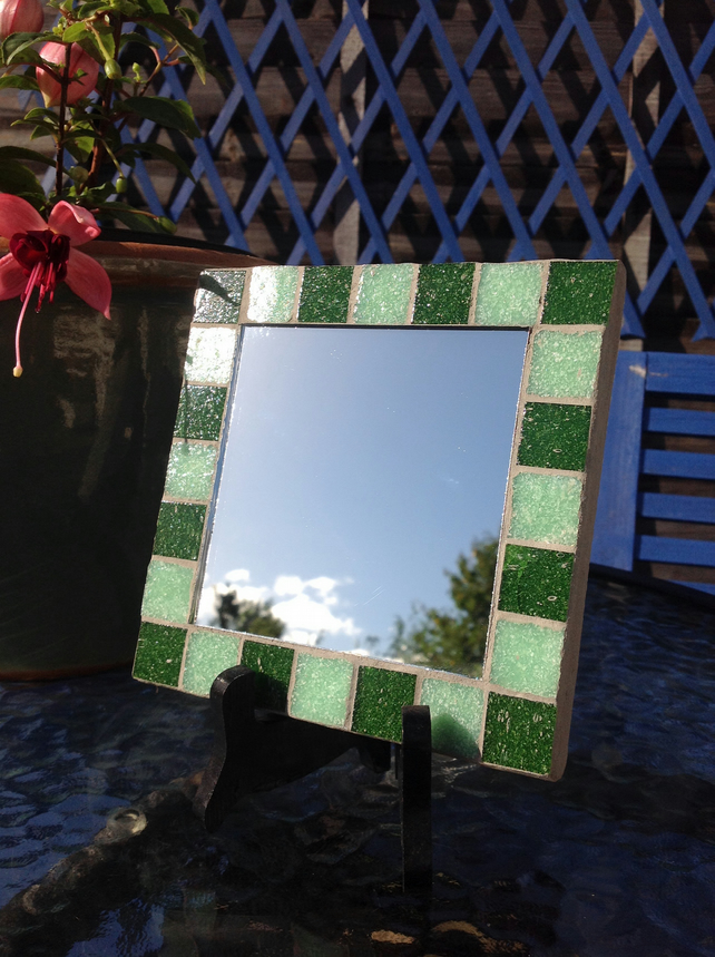 Small Square Mosaic Mirror - Green 1
