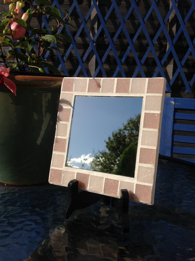 Small Square Mosaic Mirror -Pink 1