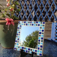 Small Square Mosaic Mirror -Blue Mix 2