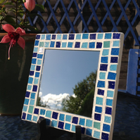 Small Square Mosaic Mirror -Blue Mix 4