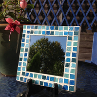Small Square Mosaic Mirror -Blue Mix 3