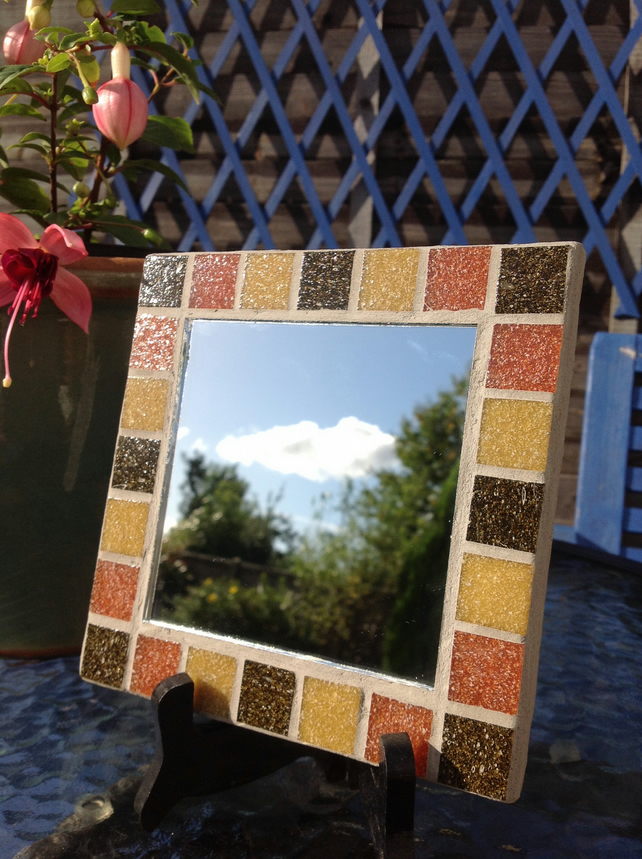 Small Square Mosaic Mirror -Brown 1