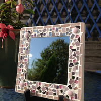 Small Square Mosaic Mirror -Pink Mix 1