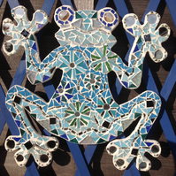 Mosaic Blue Mirror Frog Wall Hanging