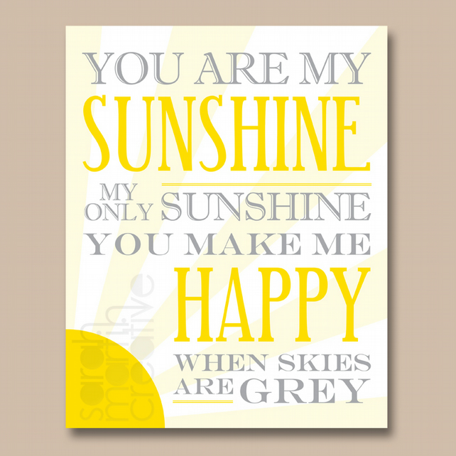 You are my sunshine my only sunshine 8x10 in folksy you are my sunshine my only sunshine 8x10 inch lyrics print stopboris Gallery