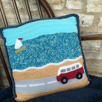 Crocheted Campervan Cushion - A Day at the Beach