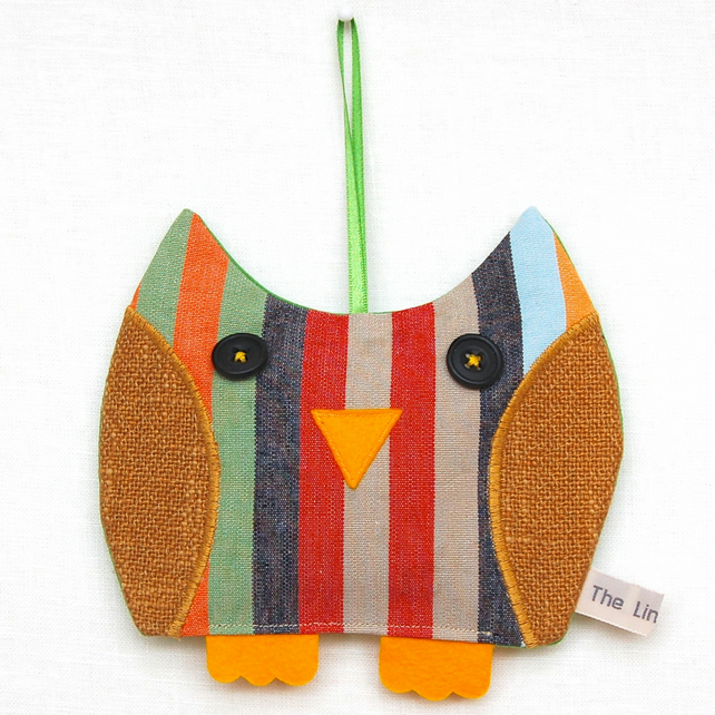 Candy Stripe Owl Lavender Bag