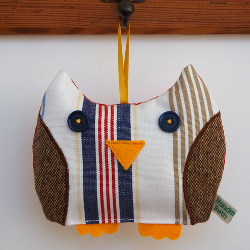 SALE Blue Stripe Owl Lavender Bag