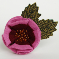 Double Pink Rose Brooch