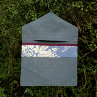 Blue Peg Bag Trimmed with Maroon