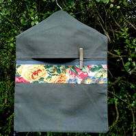 Grey peg bag trimmed with floral chintz
