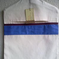 Cream Peg Bag Trimmed with Blue and Maroon