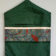 CLEARANCE Green Beg Bag Trimmed with Batic Fabric
