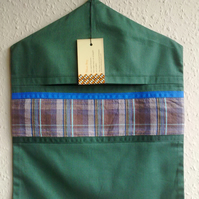 Green Peg Bag Trimmed with Checked Fabric