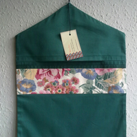 Green Peg Bag Trimmed with Vintage Chintz