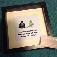 IVE BEEN WAITING FOR YOU... - FRAMED LEGO DARTH VADER AND OBI-WAN FIGURES