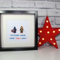 CAPTAIN AMERICA - CIVIL WAR - WHOSE SIDE ARE YOU ON - FRAMED MINIFIGURES