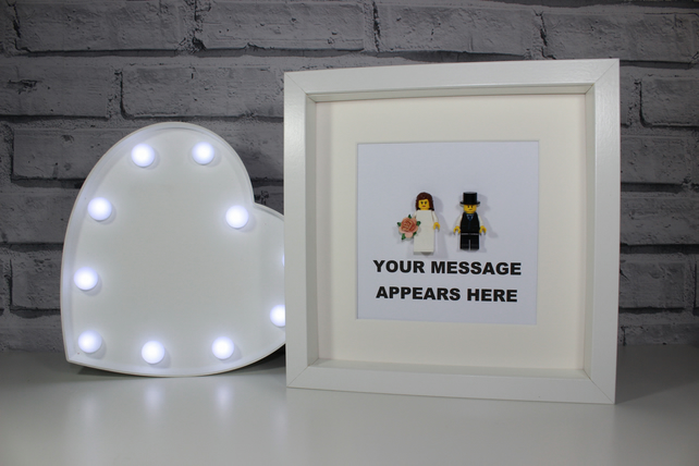 LEGO BRIDE AND GROOM - FRAMED WEDDING GIFT IDEA