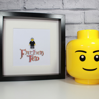 FATHER TED - FRAMED CUSTOM LEGO FIGURE - STUNNING QUIRKY PIECE