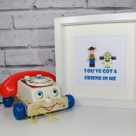 YOU'VE GOT A FRIEND IN ME - WOODY AND BUZZ -  TOY STORY - FRAMED CUSTOM FIGURES