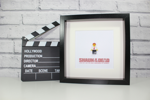 SHAUN OF THE DEAD - FRAMED CUSTOM LEGO FIGURE