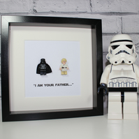 I AM YOUR FATHER - DARTH AND LUKE FRAMED LEGO FIGURES - STAR WARS
