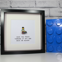 IT GEEK - HAVE YOU TRIED TURNING IT OFF - FRAMED LEGO FIGURE