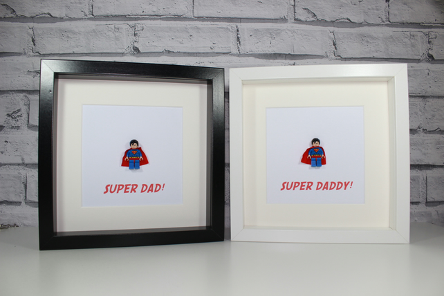 SUPERMAN - FATHERS DAY SPECIAL - FRAMED LEGO MINIFIGURE - DAD DADDY