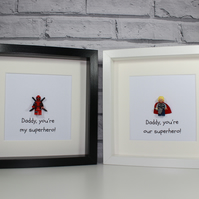 SUPERHERO - FATHER'S DAY SPECIAL - FRAMED MINIFIGURE - YOU CHOOSE
