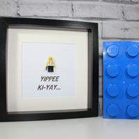 DIE HARD - YIPPEE KI-YAY - FRAMED CUSTOM LEGO FIGURE