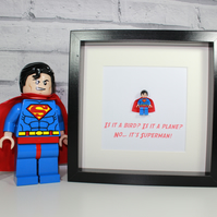SUPERMAN - FRAMED LEGO FIGURE - AWESOME COMIC BOOK ART
