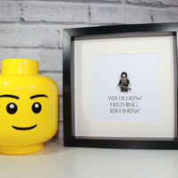 GAME OF THRONES - FRAMED CUSTOM LEGO JON SNOW FIGURE