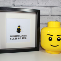 GRADUATE - FRAMED CUSTOM LEGO MINIFIGURE - AWESOME GRADUATION GIFT IDEA