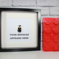 FRAMED GRADUATE MINIFIGURE - LEGO - ADD A MESSAGE - PERSONAL AND UNIQUE GIFT
