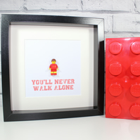 LIVERPOOL FC - FRAMED CUSTOM LEGO MINIFIGURE - FOOTBALL