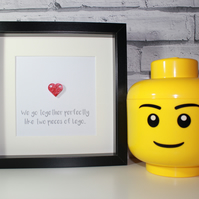 VALENTINE'S DAY - WE GO TOGETHER - FRAMED LEGO HEART - FAB GIFT