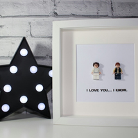 I LOVE YOU - FRAMED LEGO HAN SOLO AND PRINCESS LEIA FIGURES
