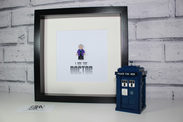 DOCTOR WHO - FRAMED LEGO MINIFIGURE - QUIRKY ART WORK - STUNNING