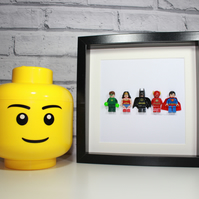 THE JUSTICE LEAGUE - FRAMED LEGO MINIFIGURES - AWESOME ART WORK