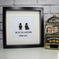 THE BLUES BROTHERS - FRAMED CUSTOM LEGO MINIFIGURES - CLASSIC
