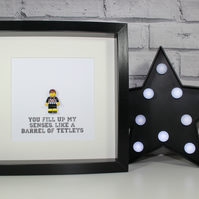 GRIMSBY TOWN FC - LEGO - FRAMED CUSTOM MINIFIGURE - AWESOME