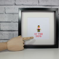 LINCOLN CITY FC - FRAMED LEGO MINIFIGURE - CUSTOM - GREAT ART WORK