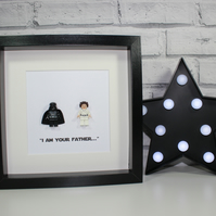 DARTH AND LEIA - Framed Lego minifigure - Father's Day - Dad - Daddy - Daughter