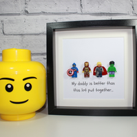 AVENGERS - FATHERS DAY SPECIAL - MY DADDY IS - FRAMED MINIFIGURES