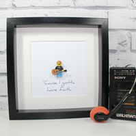 GEORGE MICHAEL - FRAMED LEGO MINIFIGURE - CUSTOM MADE - AWESOME