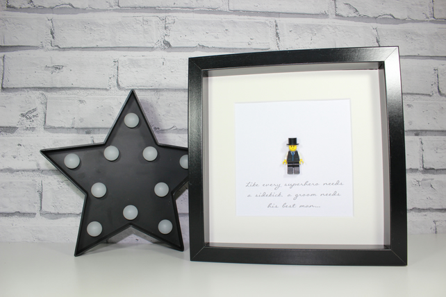 BEST MAN GIFT - AWESOME FRAMED LEGO MINIFIGURE - WEDDING GIFT IDEA